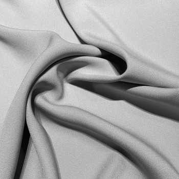 Silver grey satin cady crepe fabric
