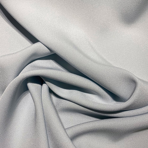 Grey blue satin cady crepe fabric