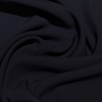 Dark navy blue satin cady crepe fabric