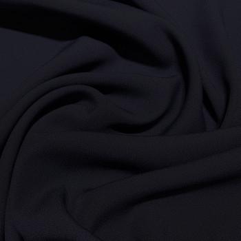 Dark navy blue satin cady crepe fabric