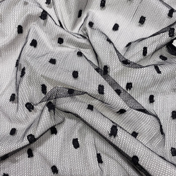 Black Calais lace plumetis