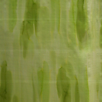 Tissu mousseline soie imprimée effet tie and dye vert anis