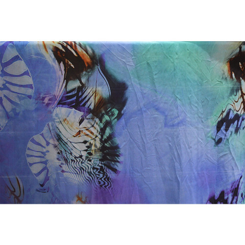 Ocean printed silk chiffon fabric