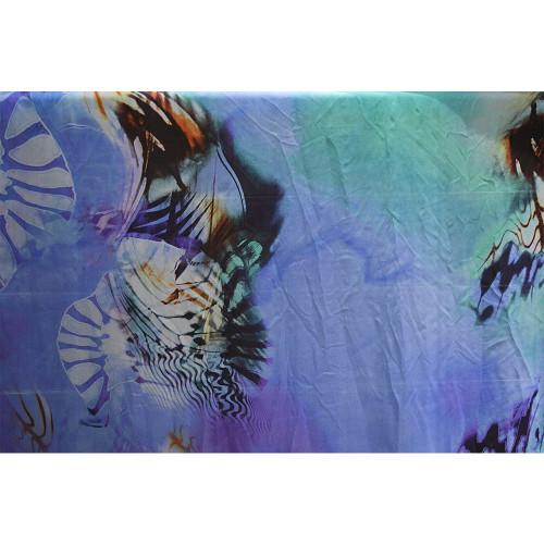 Tissu mousseline soie imprimée océan