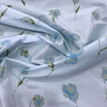 Sky blue floral print silk taffeta fabric