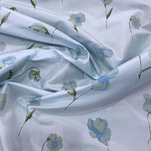 Tissu taffetas de soie imprimé floral bleu ciel