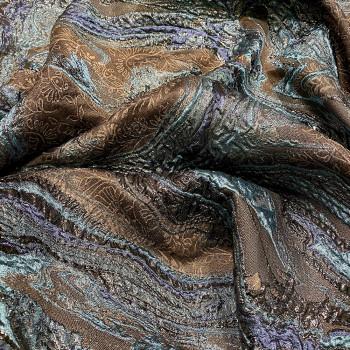 Brown silk brocade fabric
