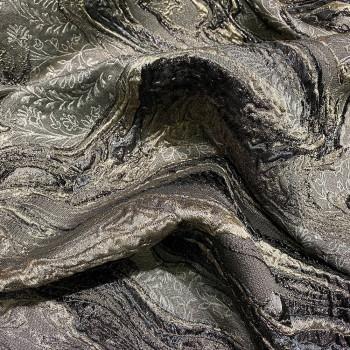 Tissu brocart de soie taupe