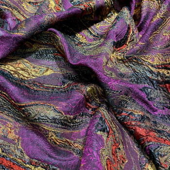 Tissu brocart de soie bordeaux prune