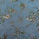 Tissu brocart de soie imprimé floral bleu canard