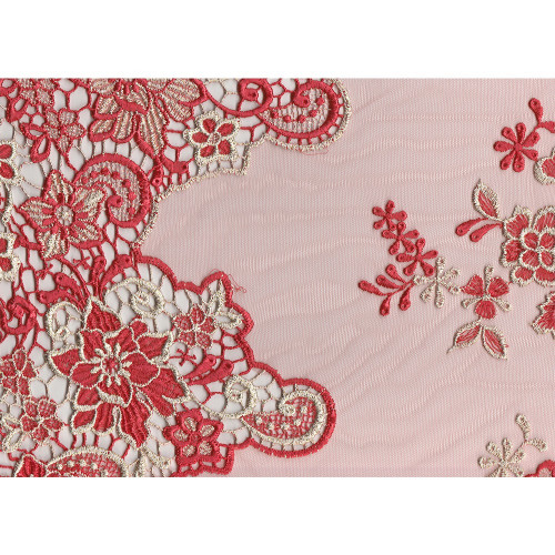 Coral embroidered tulle fabric