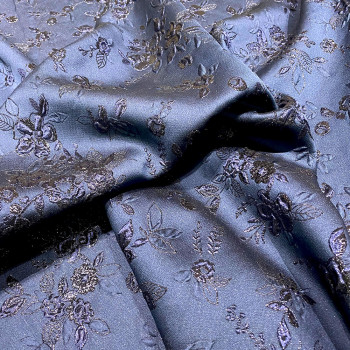 Navy blue floral print silk brocade fabric