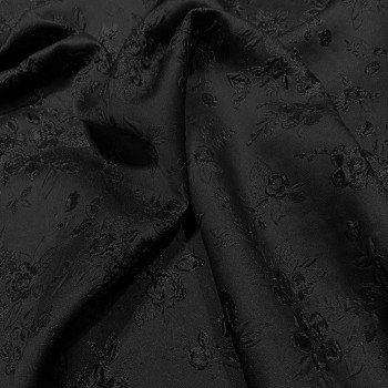 Black floral print silk brocade fabric