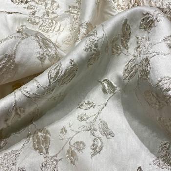 Tissu brocart de soie imprimé floral ivoire