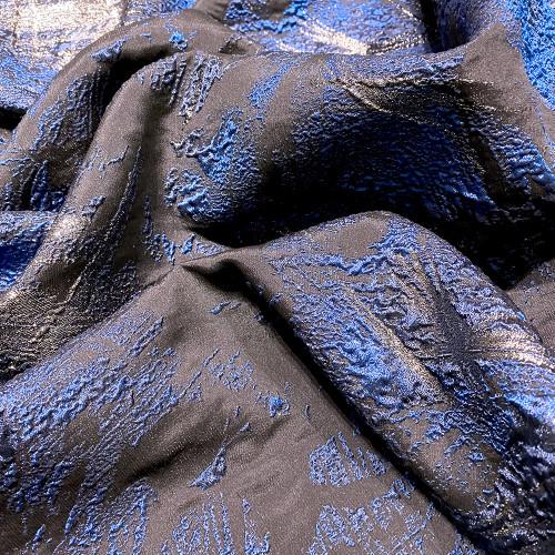Tissu brocart de soie bleu royal sur bleu marine
