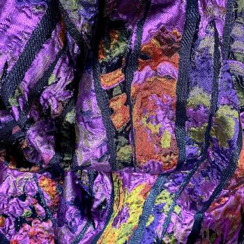 Purple stripes silk brocade fabric