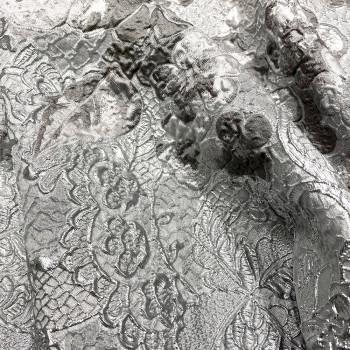 Silver gray silk brocade fabric