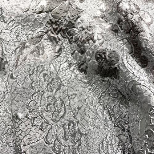 Tissu brocart de soie gris argent