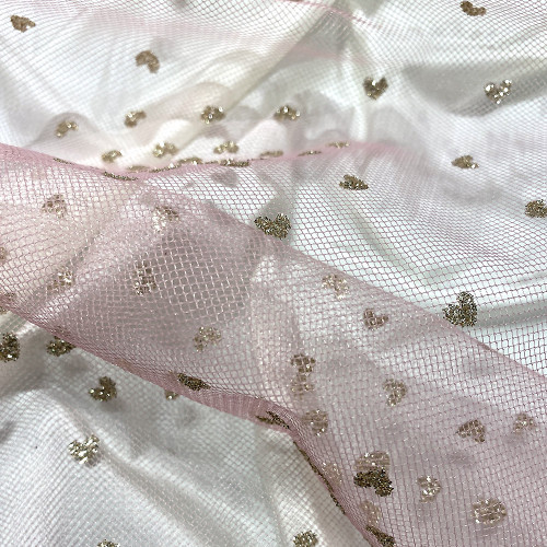 Sequined tulle with gold hearts on antique rose tulle