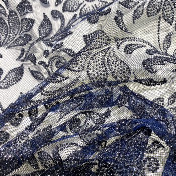 Tulle pailleté fleurs bleu marine sur tulle bleu