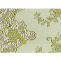Anise green embroidered tulle fabric
