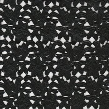 Black chemical lace guipure fabric  (90 centimetres)