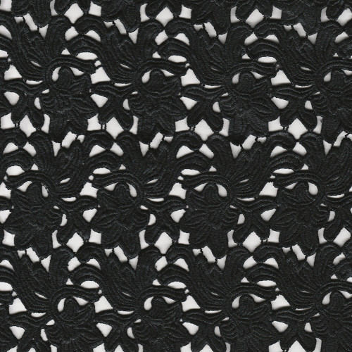 Black chemical lace guipure fabric