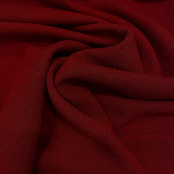 Dark red wool crepe fabric 100% wool