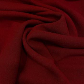 Tissu crêpe de laine 100% laine rouge foncé