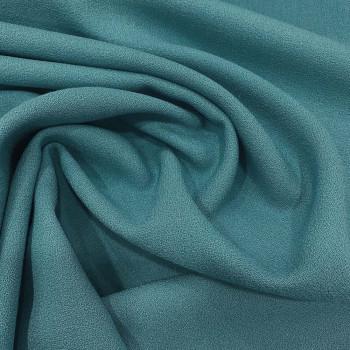 Ocean blue wool crepe fabric 100% wool