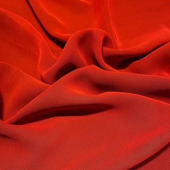 Tissu crêpe georgette viscose rouge corail