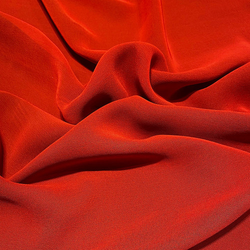 Coral red viscose georgette fabric
