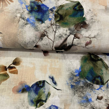 Abstract floral print linen fabric