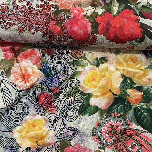 Tissu lin imprimé floral et paisley