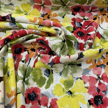 Floral print linen fabric