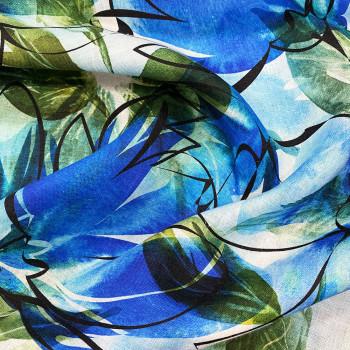 Blue artist floral print linen fabric