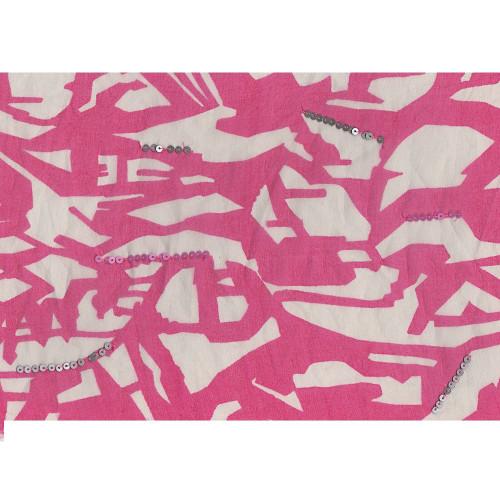 Tissu organza de soie imprimé paillettes blanc/rose