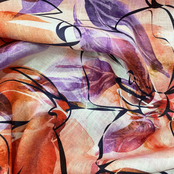 Orange artist floral print linen fabric