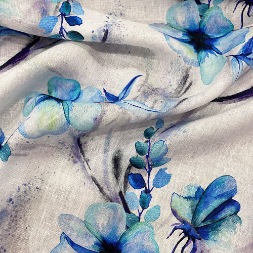 Tissu lin imprimé floral bleu