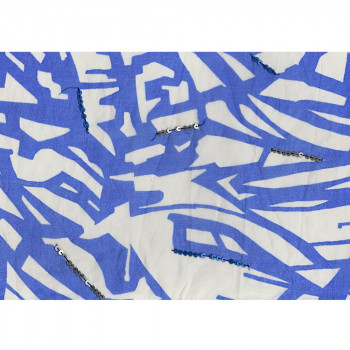Tissu organza de soie imprimé paillettes blanc/bleu