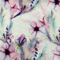 Pink floral print linen fabric