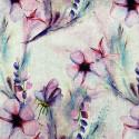 Tissu lin imprimé floral rose