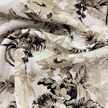 Beige floral print linen fabric