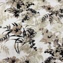Tissu lin imprimé floral beige