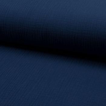 Tissu double gaze de coton bleu nuit
