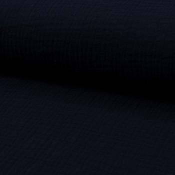 Tissu double gaze de coton bleu marine