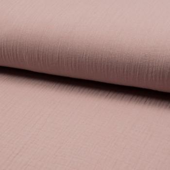 Tissu double gaze de coton vieux rose