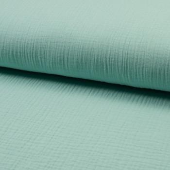 Tissu double gaze de coton vert menthe