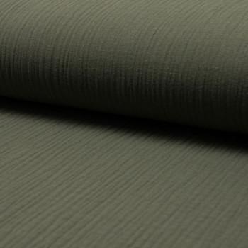 Tissu double gaze de coton vert kaki