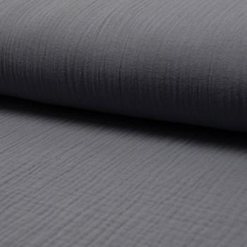 Grey double gauze cotton fabric